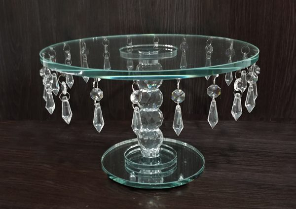 C200 Crystal cake stand round 16×29.5cm