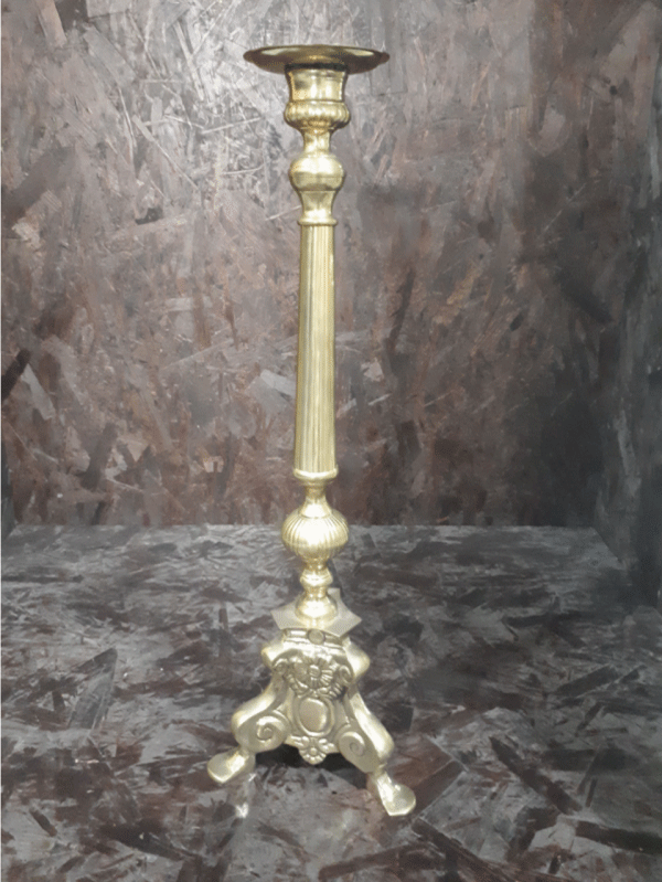 Gold Pillar Candle Holder 3 Feet 60cm jpg
