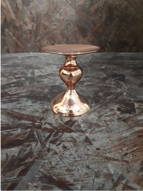 ROSEGOLD PILLAR CANDLE HOLDER 10CM