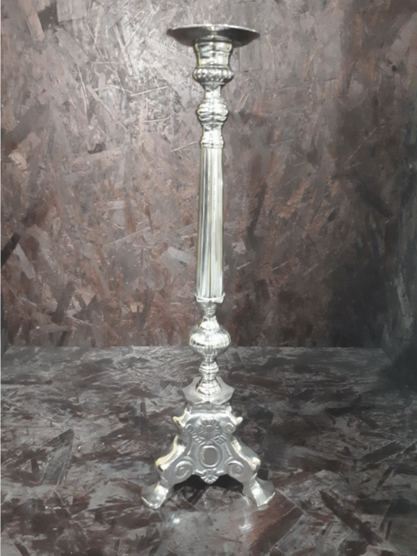 Silver Pillar Candle Holder 3 Feet 60cm